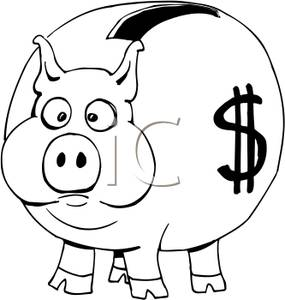 Free piggy bank clipart black and white clipart stock and White Piggy Bank with a Dollar Sign on the Side - Royalty Free ... clipart stock