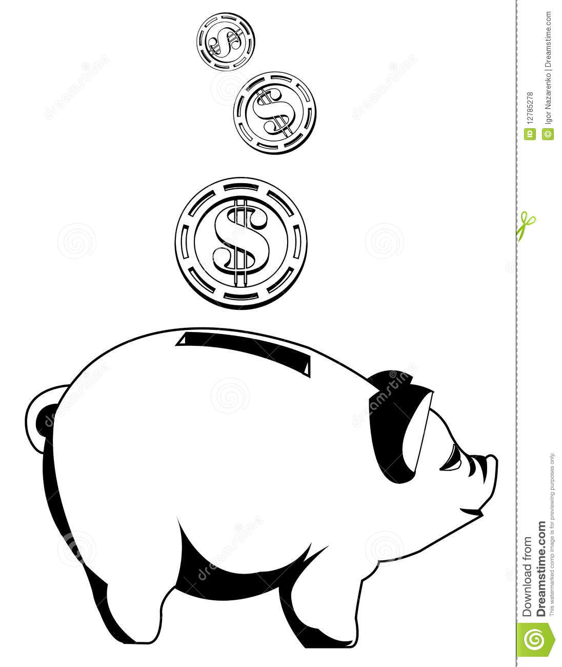 Free piggy bank clipart black and white jpg freeuse stock Black And White Piggy Bank With Coins Royalty Free Stock Photos ... jpg freeuse stock