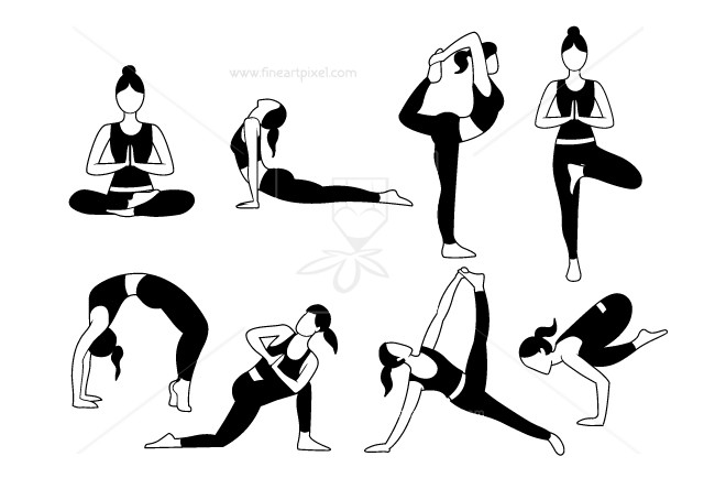 Free pilates clipart image free stock Set of yoga and pilates poses | Free vectors, illustrations, graphics ... image free stock