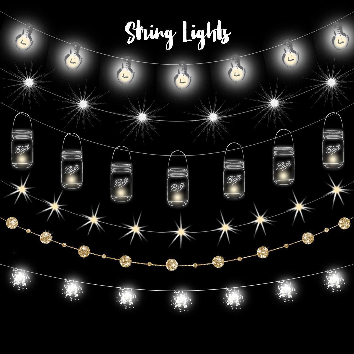 Mason jar lights clipart image freeuse stock String lights clipart, Fairy lights clipart, party lights clipart ... image freeuse stock