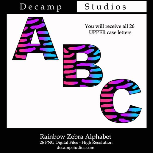 Free polka dot alphabet clipart banner black and white FREE DOWNLOAD - Rainbow Zebra Alphabet Letters Digital Printable ... banner black and white