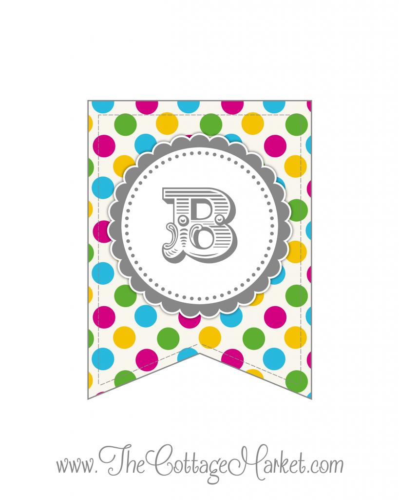 Free polka dot alphabet clipart jpg Free Printable - Whole Alphabet Primary Party Polka Dot Banner ... jpg