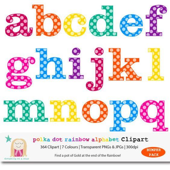 Free polka dot alphabet clipart jpg stock Rainbow Alphabet Clipart, BUMPER PACK, Polka Dot Letter Clipart ... jpg stock