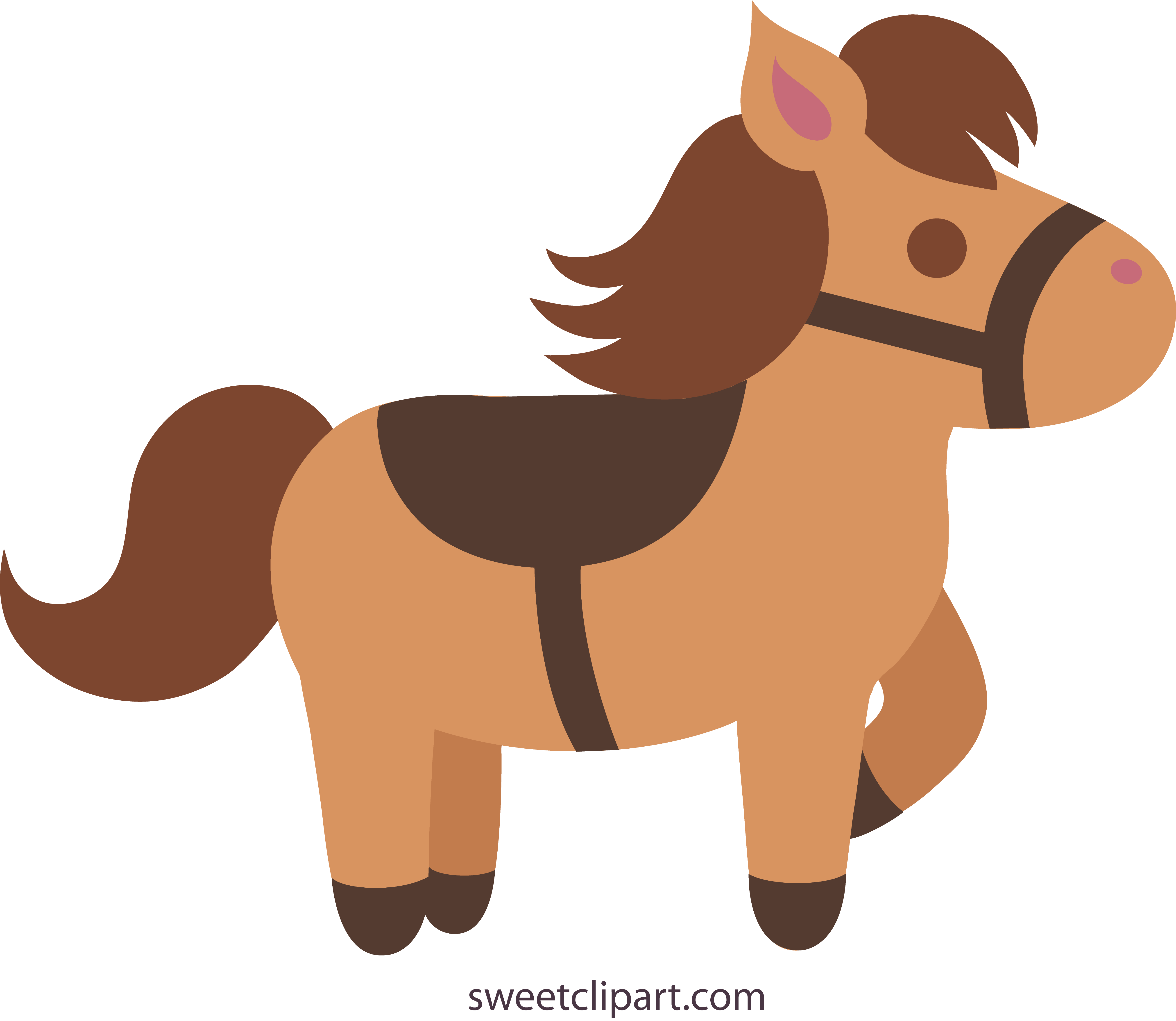 Free pony clipart. Cute brown with saddle
