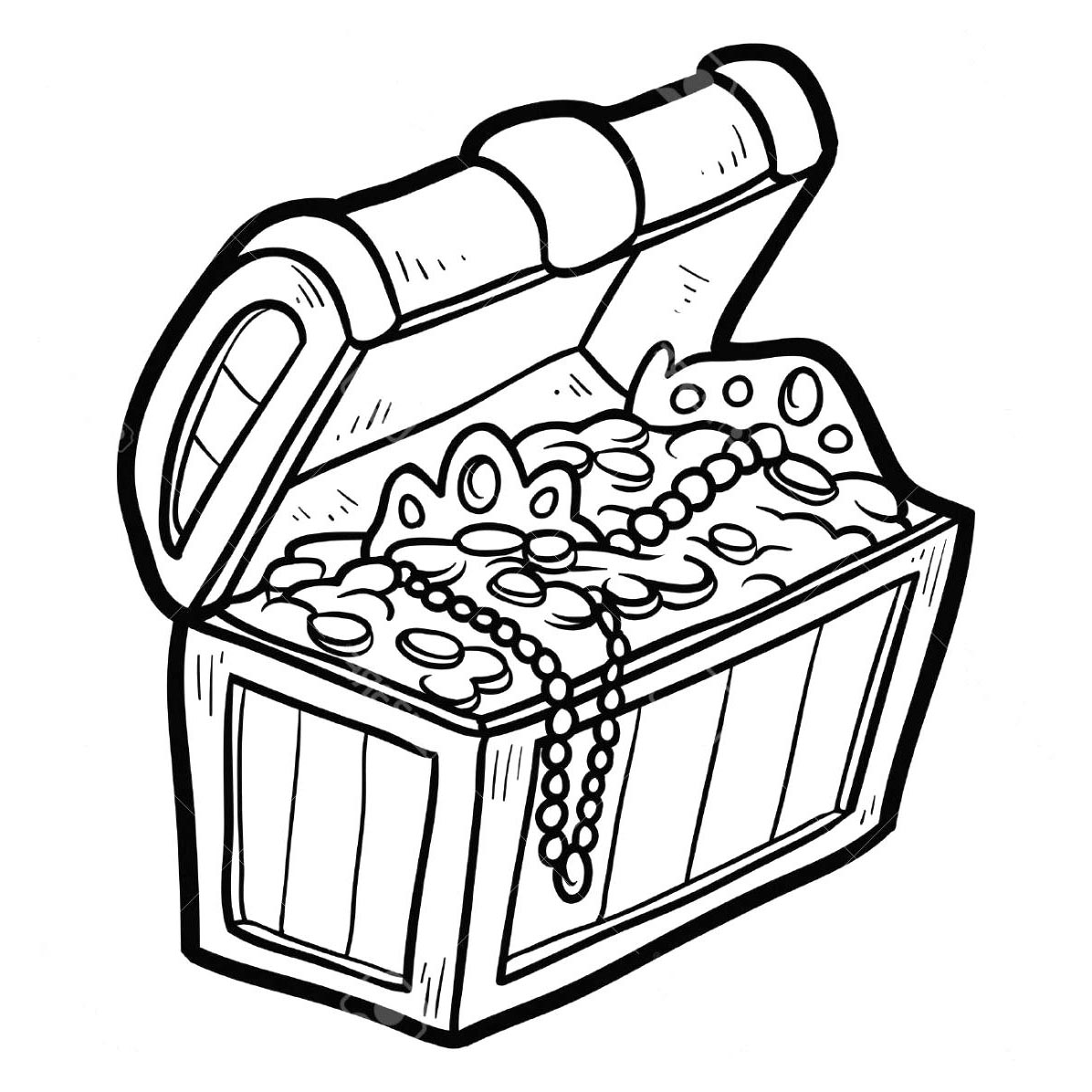 Treasure chest clip art. Free printable black and white clipart for teachers