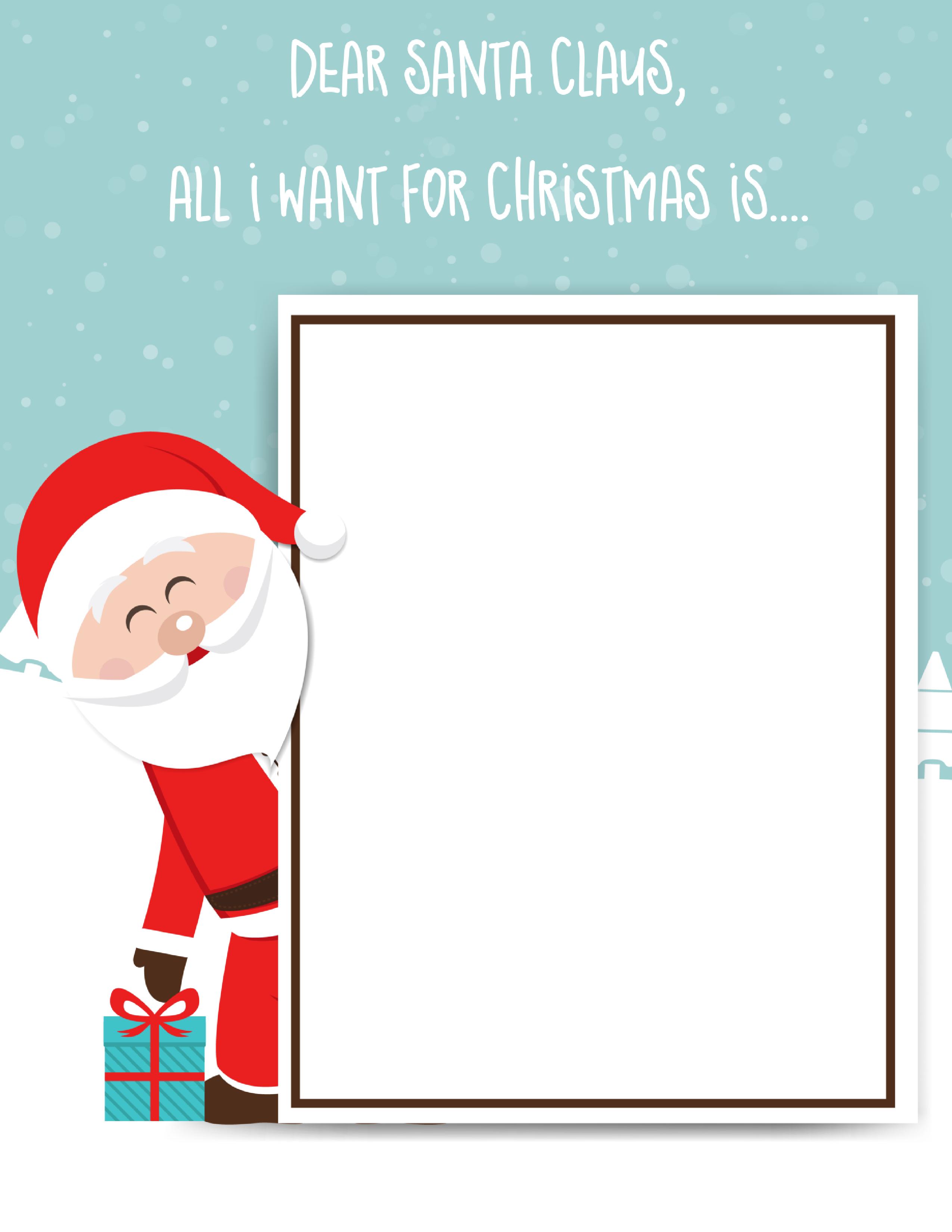 Free printable black and white dear santa letter clipart clip black and white stock Dear Santa Letter: Free Printable Downloads - clip black and white stock