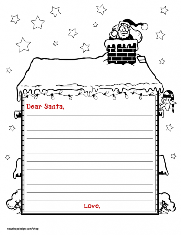 Free printable black and white dear santa letter clipart. Stationary png