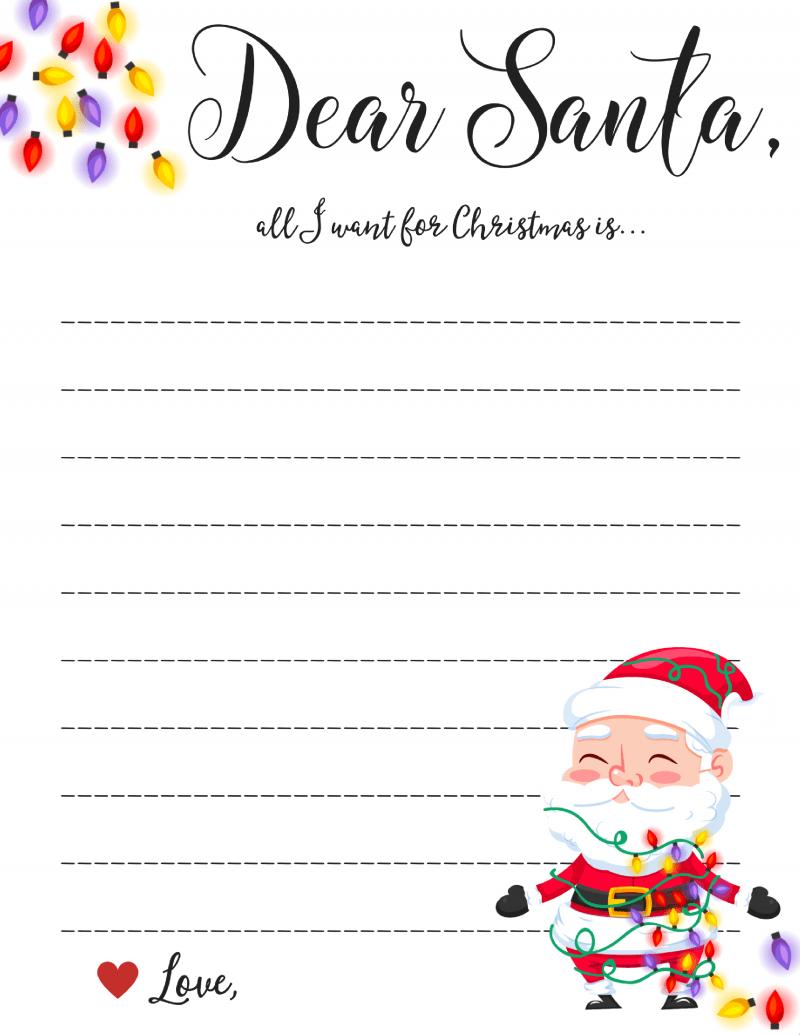Free printable black and white dear santa letter clipart png transparent stock Dear Santa Letter: Free Printable Downloads - png transparent stock