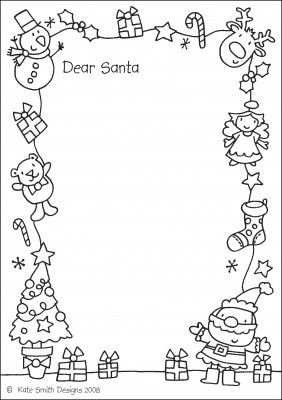 Free printable black and white dear santa letter clipart png black and white download Letter to Santa- this one is fun because you can color it too ... png black and white download