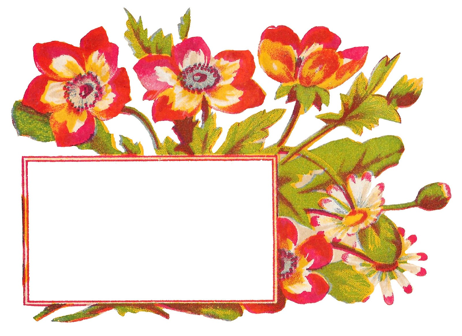 Free printable clipart images for crafting graphic free library Antique Images: Antique Flower Free Label Art Blank Printable Design ... graphic free library