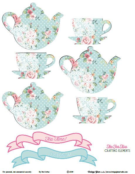 Free printable clipart images for crafting jpg black and white download Shabby Chic Tea for Two Crafting Elements - Free Printable Download ... jpg black and white download