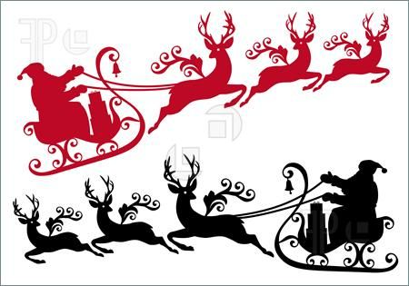 Rooftop with santa and sleigh clipart free vector royalty free library reindeer clipart | Santa With Sleigh And Reindeer, Vector ... vector royalty free library