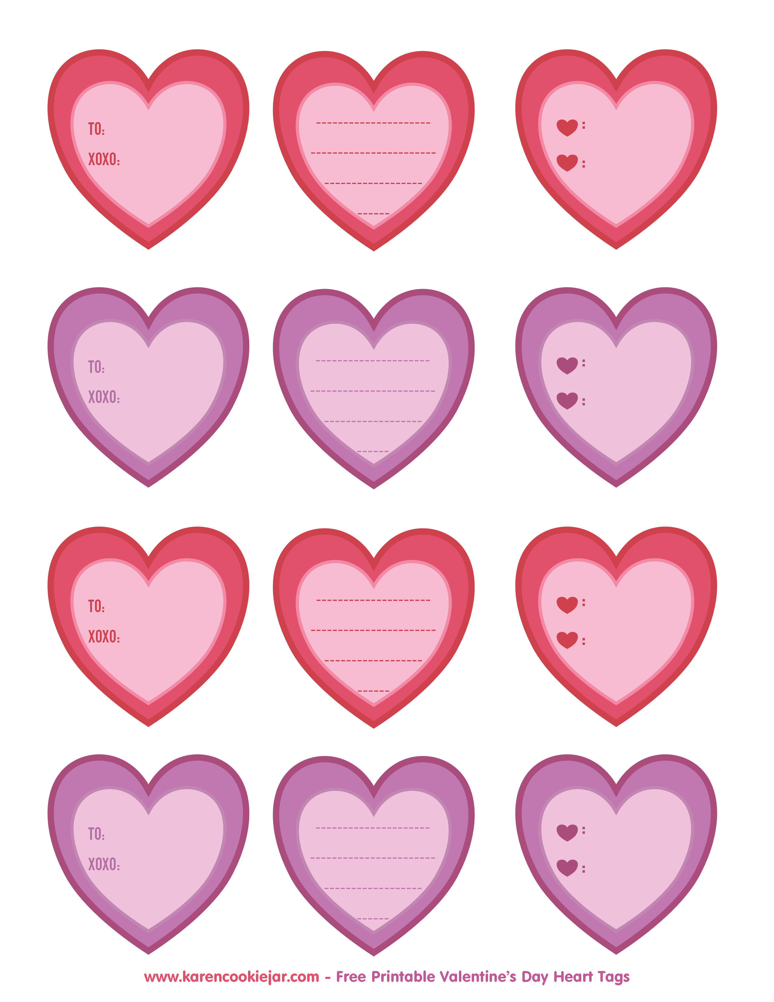Heart shaped cookie clipart svg free Free Printable Heart Tags - Karen Cookie Jar svg free