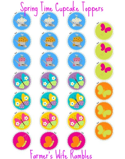 Free printable images of flowers banner free Free Printable Cupcake Toppers - Flowers & Butterflies - Farmer's ... banner free