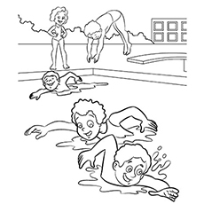 Free printable kids swimming clipart without flotation. Top coloring pages online