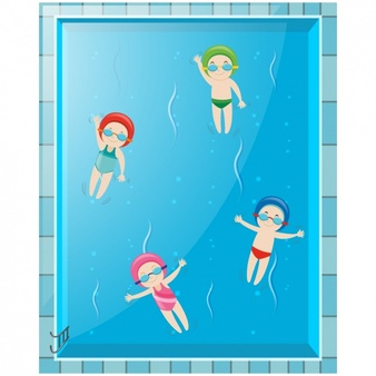 At the pool vector. Free printable kids swimming clipart without flotation