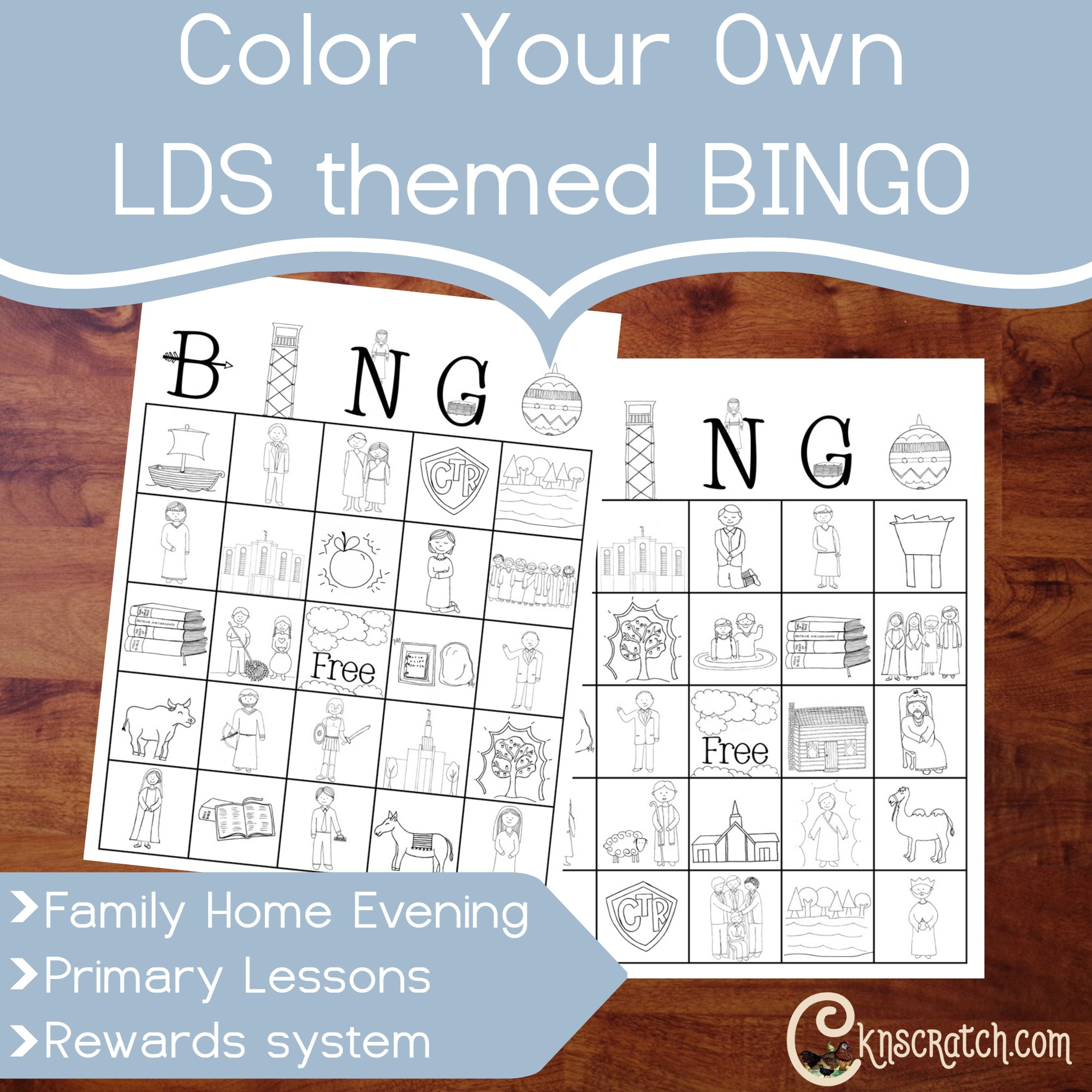 Free printable lds family home evening clipart free download Color Your Own LDS Themed Bingo - Printable free download