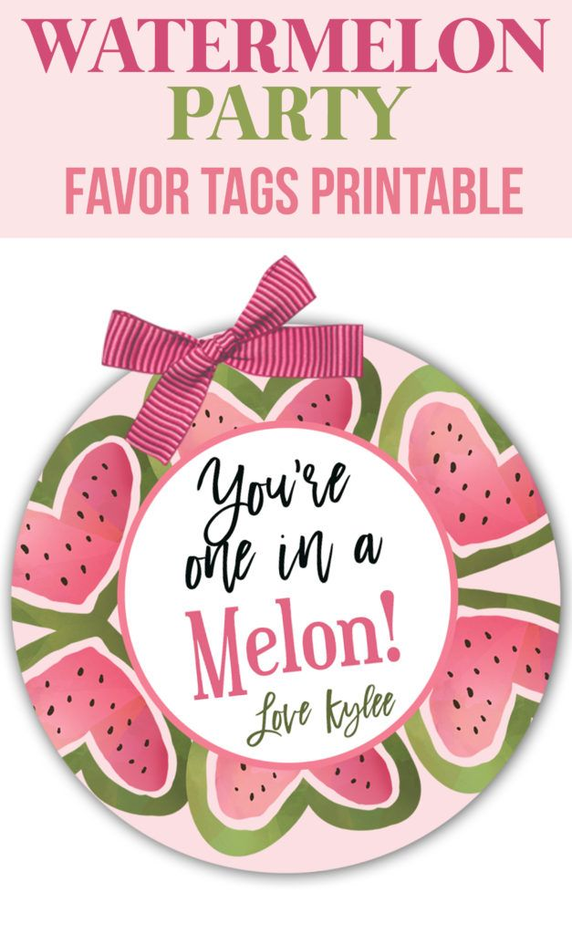 Free printable one in a melon clipart. Watercolor watermelon party decorations