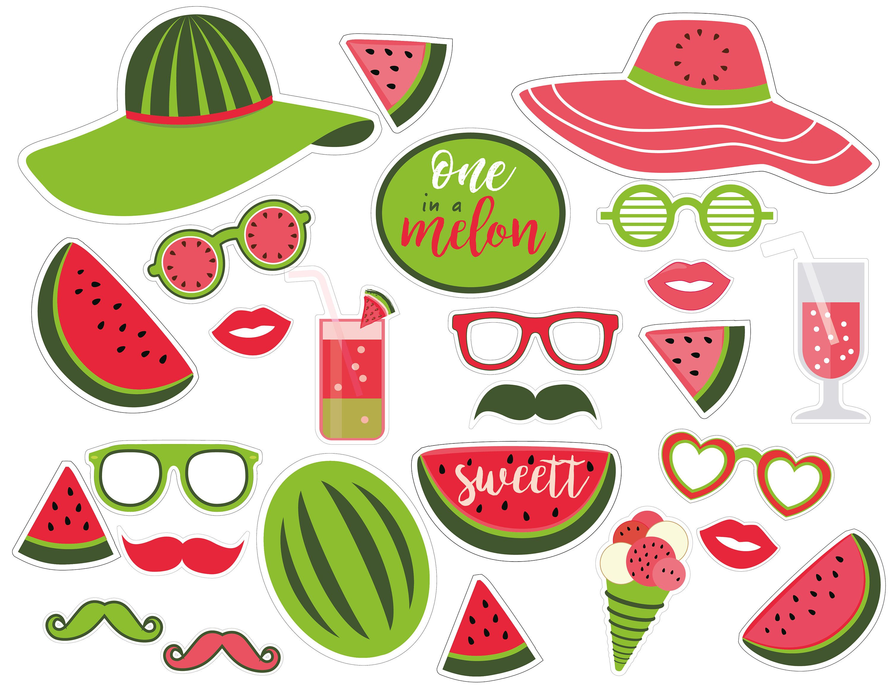 Party props birthday photo. Free printable one in a melon clipart