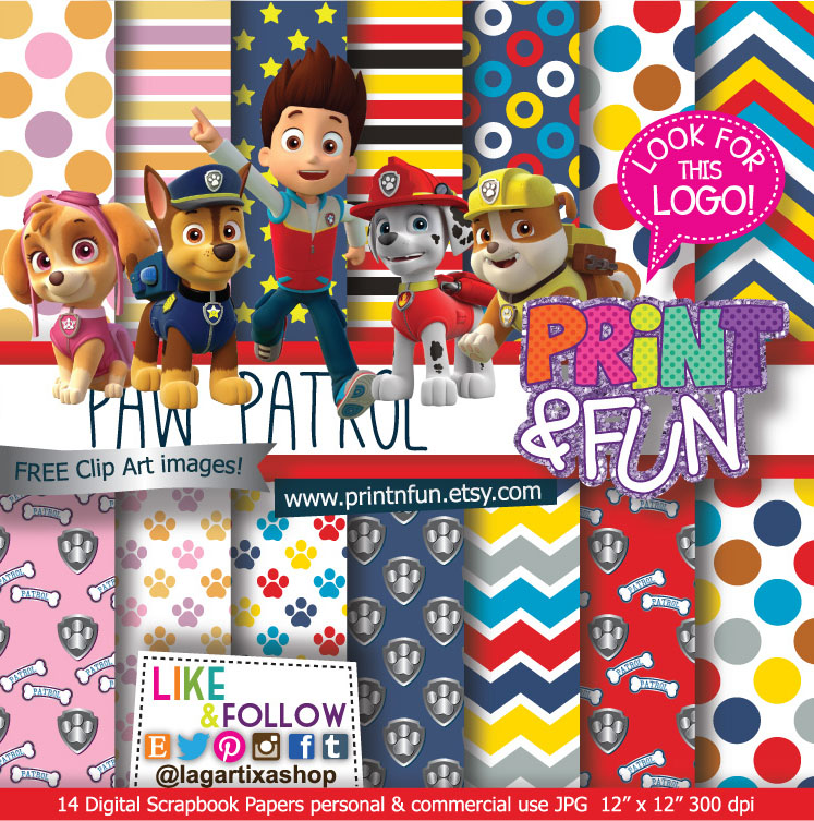 Free printable paw patrol clipart banner library Paw Patrol Digital Paper Patterns and FREE Clip art - Digital ... banner library