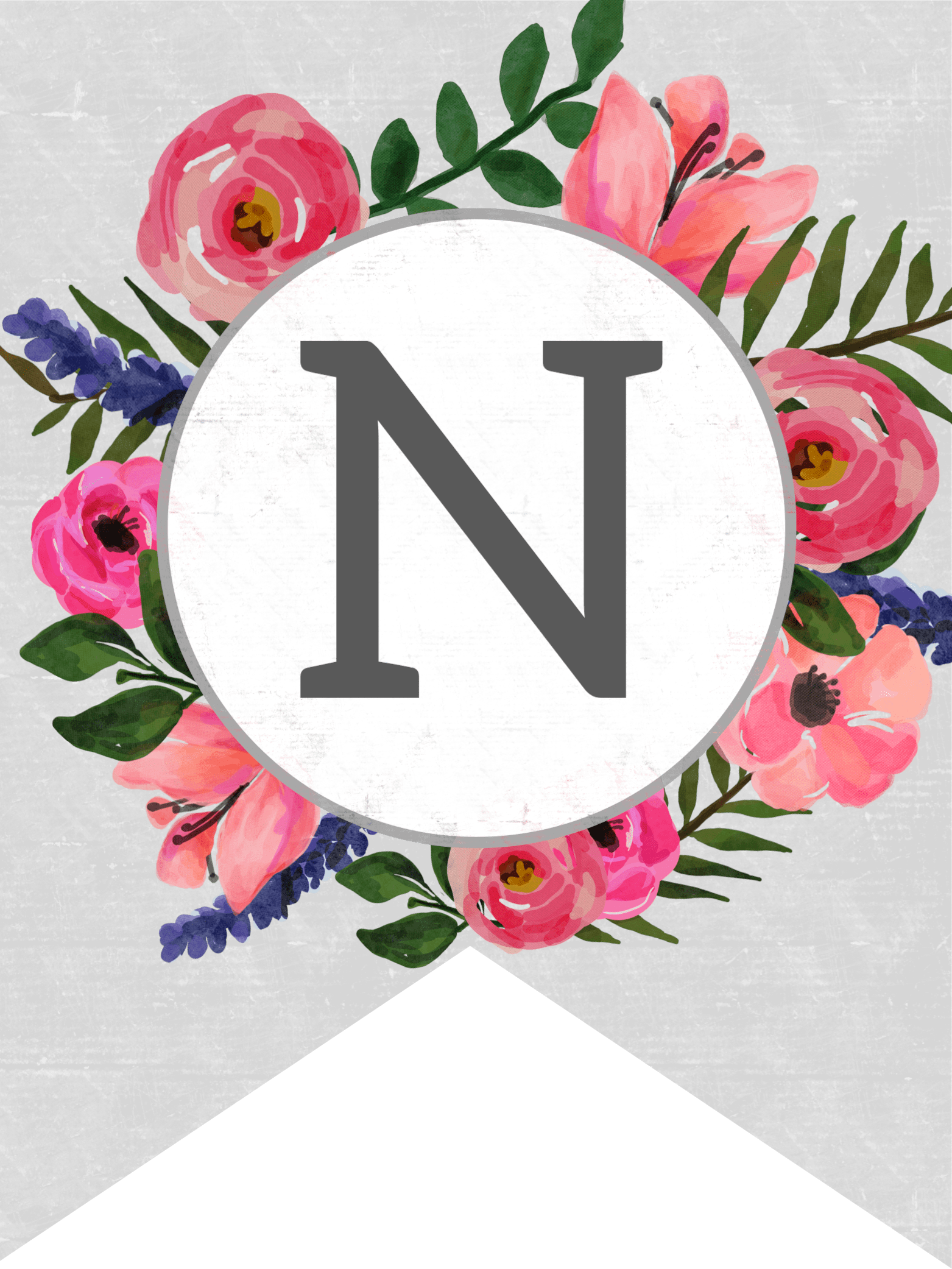 Free printable photos of flowers black and white stock Floral Alphabet Banner Letters Free Printable - Paper Trail Design black and white stock