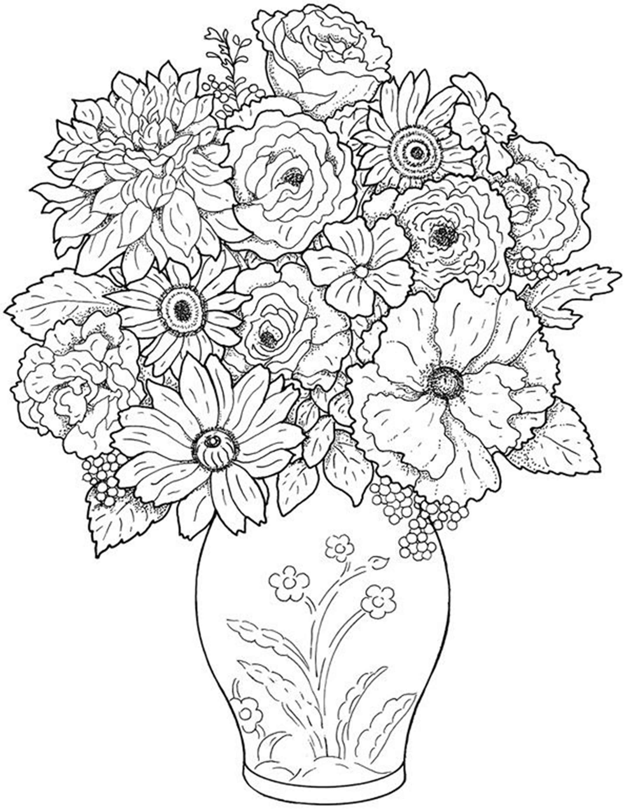 Free printable photos of flowers svg black and white download Free Printable Flower Coloring Pages For Kids - Best Coloring ... svg black and white download
