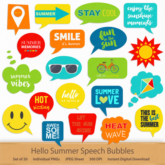 Hello summer speech bubbles. Free printable scrapbook clipart