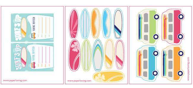 Free printable surfboard clipart graphic transparent Surf Party Printables graphic transparent