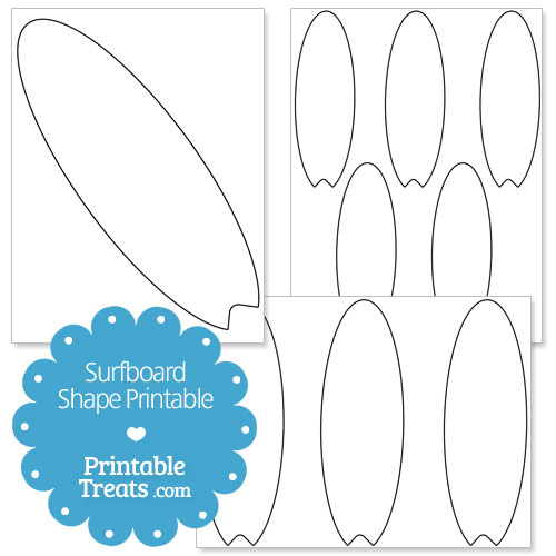 Free printable surfboard clipart free library Printable Surfboard Shape Template — Printable Treats.com free library