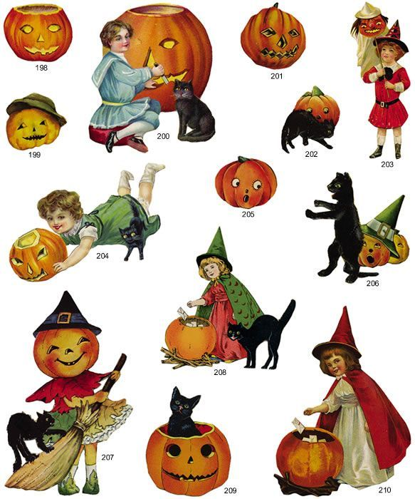 Clip art . Free printable vintage halloween clipart