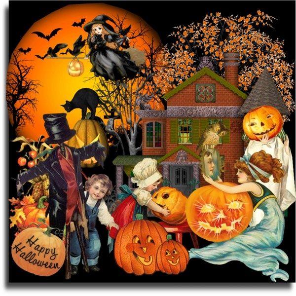 Free printable vintage halloween clipart vector transparent download Fun Vintage Halloween\