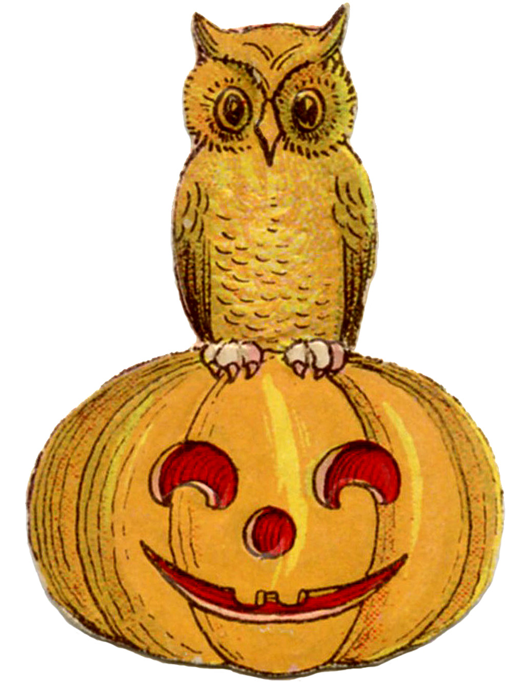Vintage clipart halloween clip free stock Vintage Halloween Clip Art - Cute Owl on Pumpkin - The Graphics Fairy clip free stock