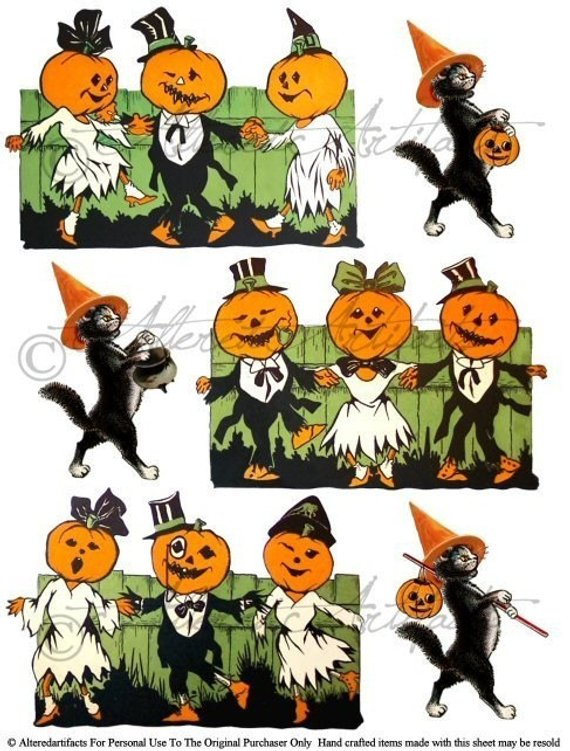 Clip art images in. Free printable vintage halloween clipart