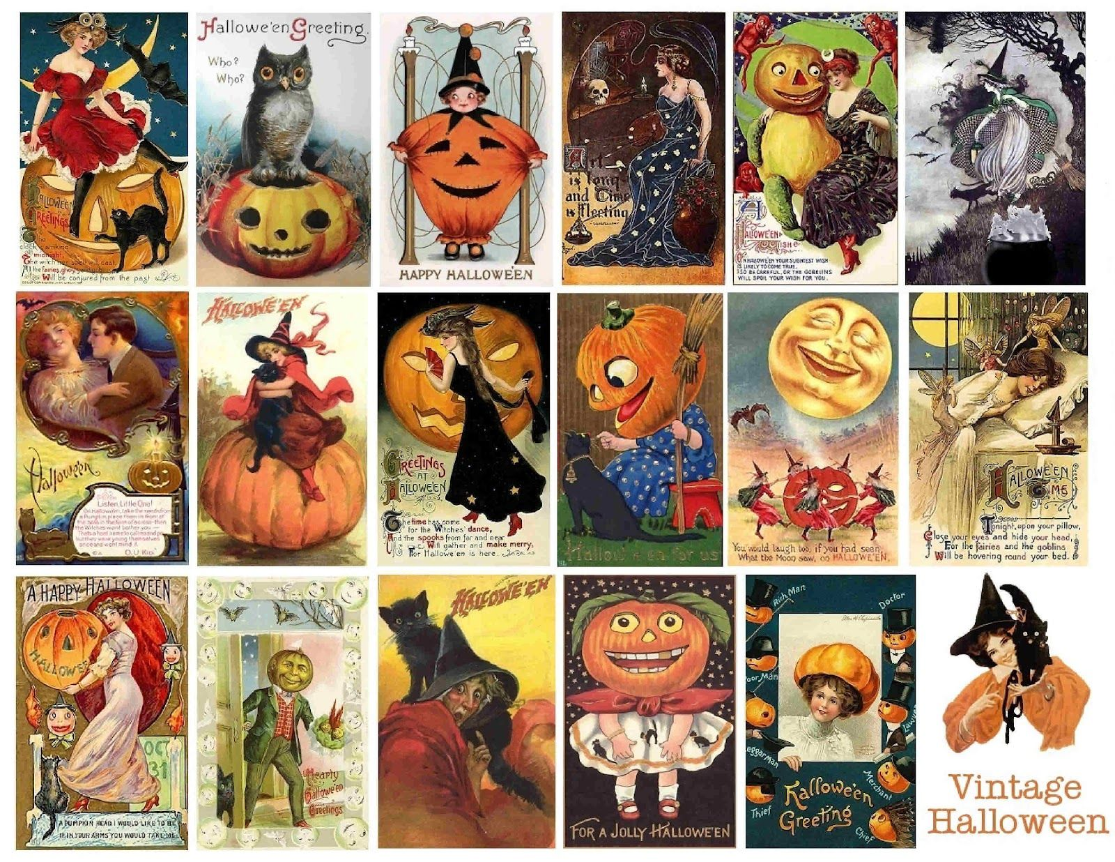 Free printable vintage halloween clipart. Collage sheet dpi more