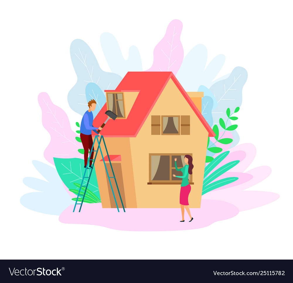 Free rooftop clipart with working man on top clipart free Man repairing rooftop flat clipart free