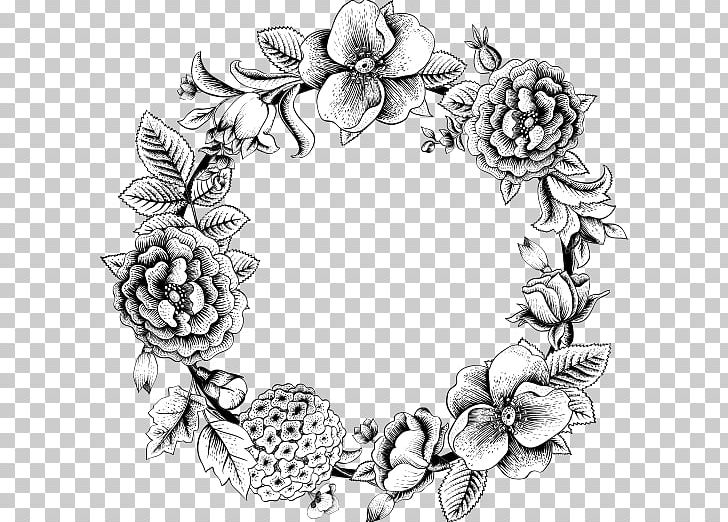 Free rose garland clipart black and white clipart transparent library Flower Wreath Drawing Garland Rose PNG, Clipart, Art, Artwork, Black ... clipart transparent library