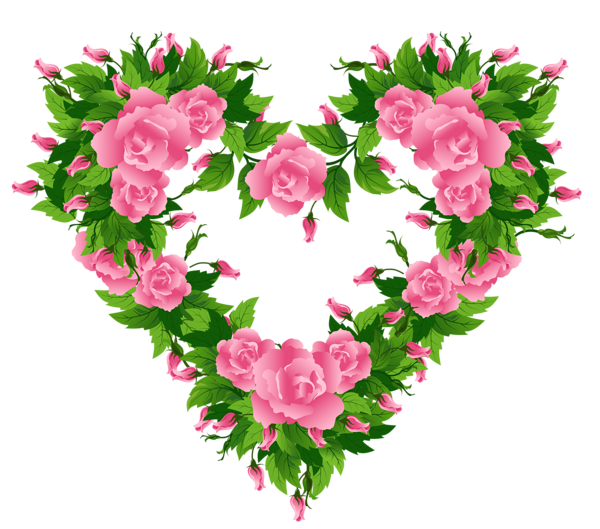 Free rose heart clipart vector library Pink Roses Heart Decor PNG Clipart Picture | PNG MIX | Pinterest ... vector library