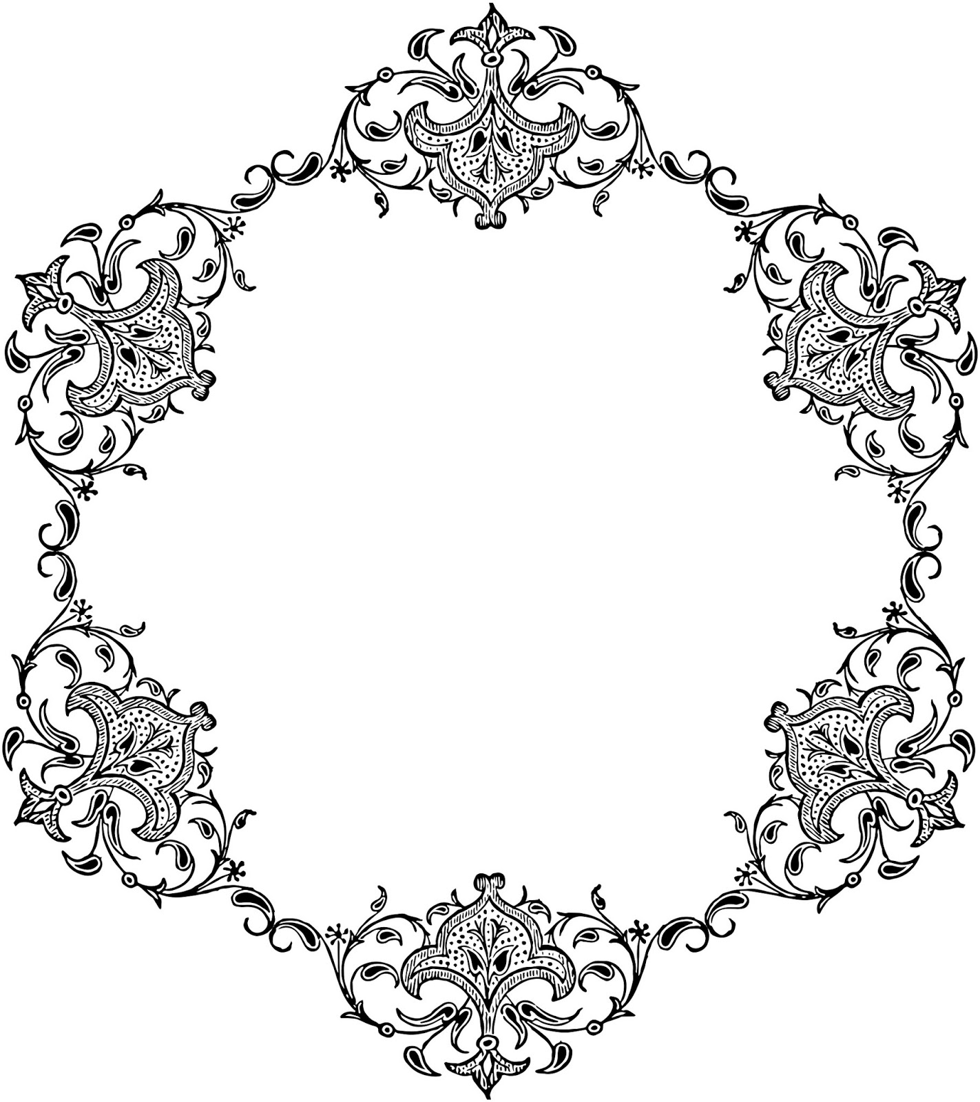 Library Of Circle Frame Damask Jpg Library Download Png Files