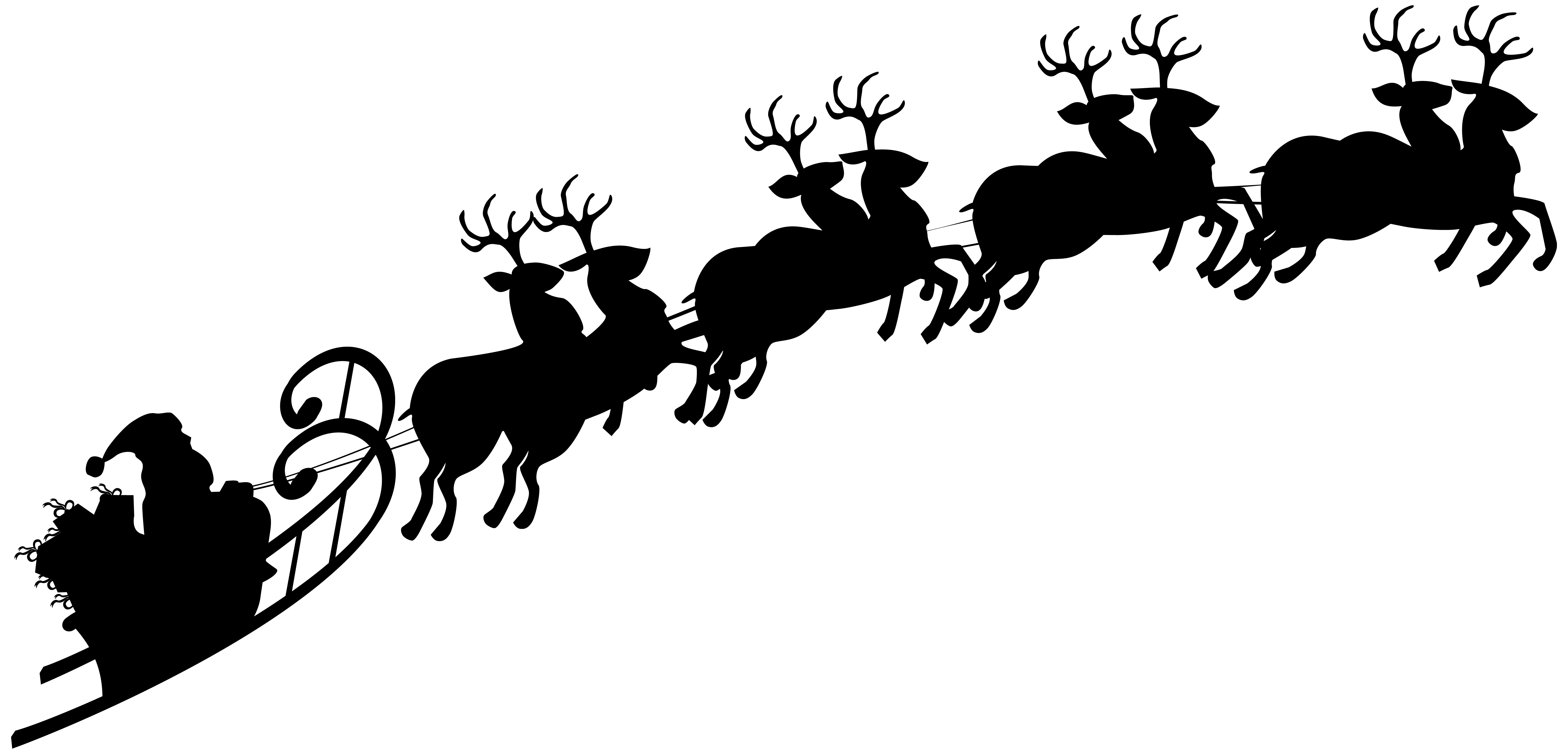 Free santa clipart with sleigh graphic black and white library Santa Sleigh Silhouette PNG Clipart Image | Gallery Yopriceville ... graphic black and white library