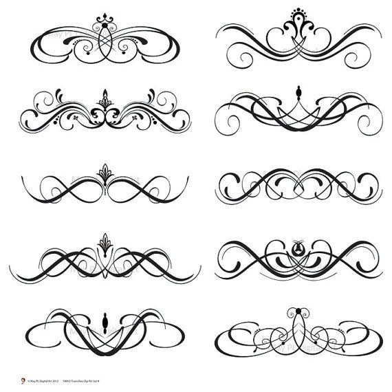 Free scroll flourish clipart graphic royalty free Wedding Decor Rustic Clipart - Vintage White Flourish great for DIY ... graphic royalty free