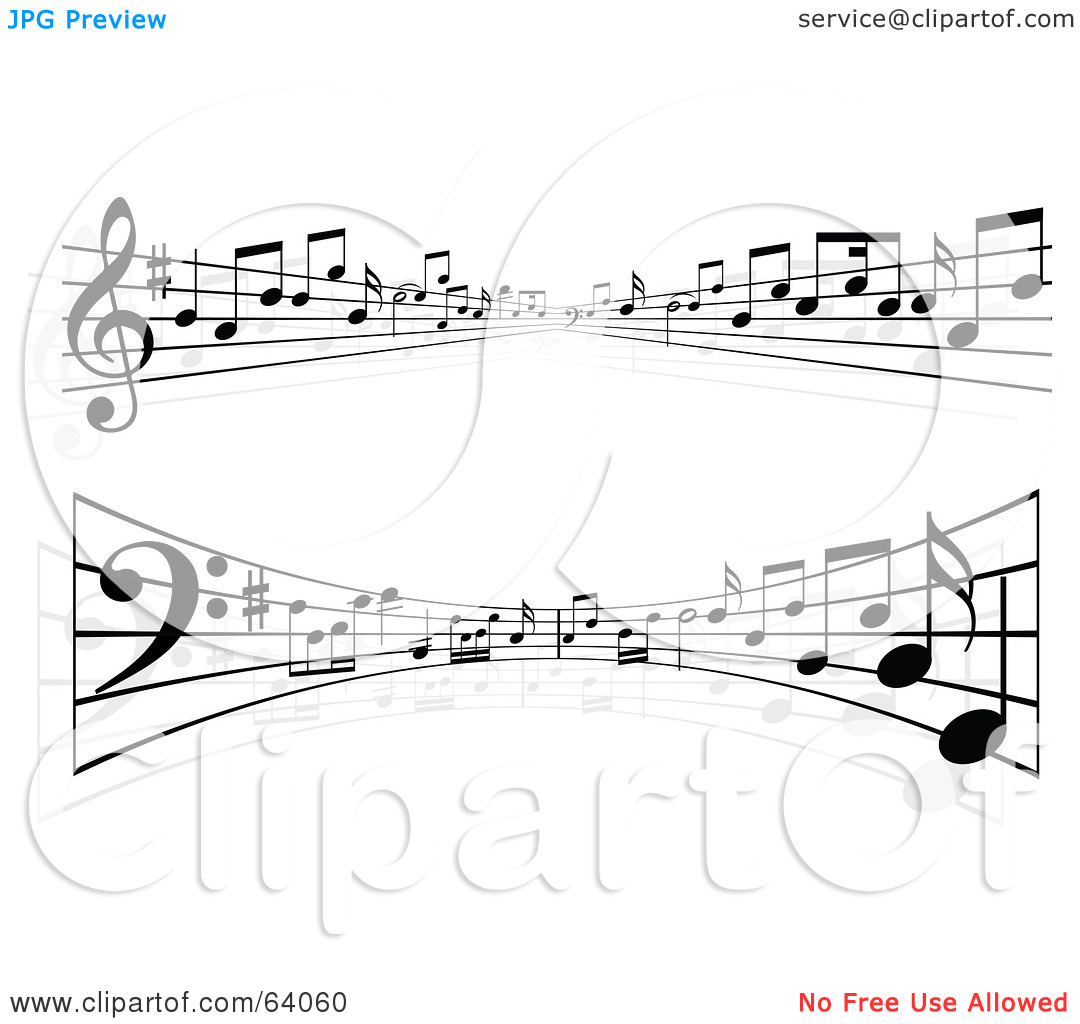Free sheet music clipart black and white Royalty-Free (RF) Clipart Illustration of a Digital Collage Of Two ... black and white