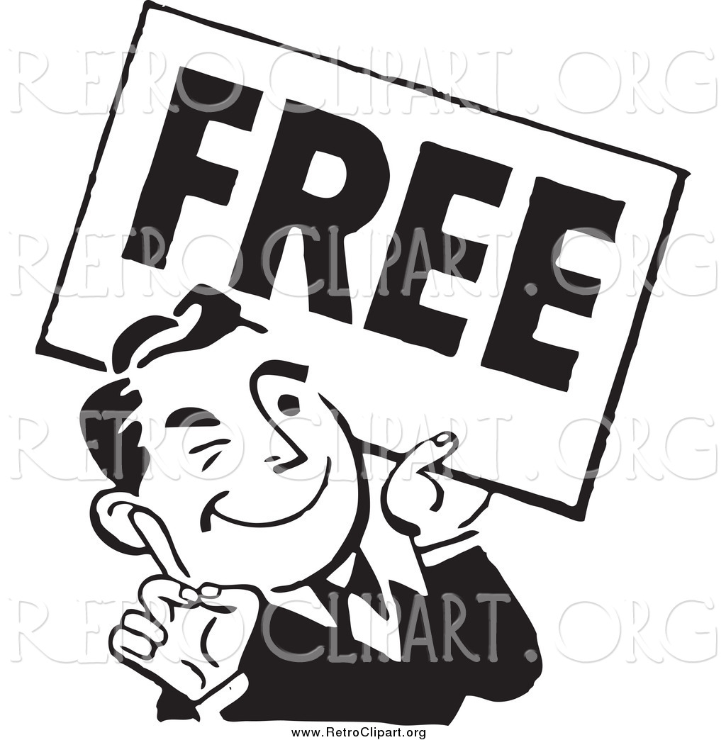 Free sign clipart png library stock Clipart of a Retro Black and White Man with a Free Sign by ... png library stock