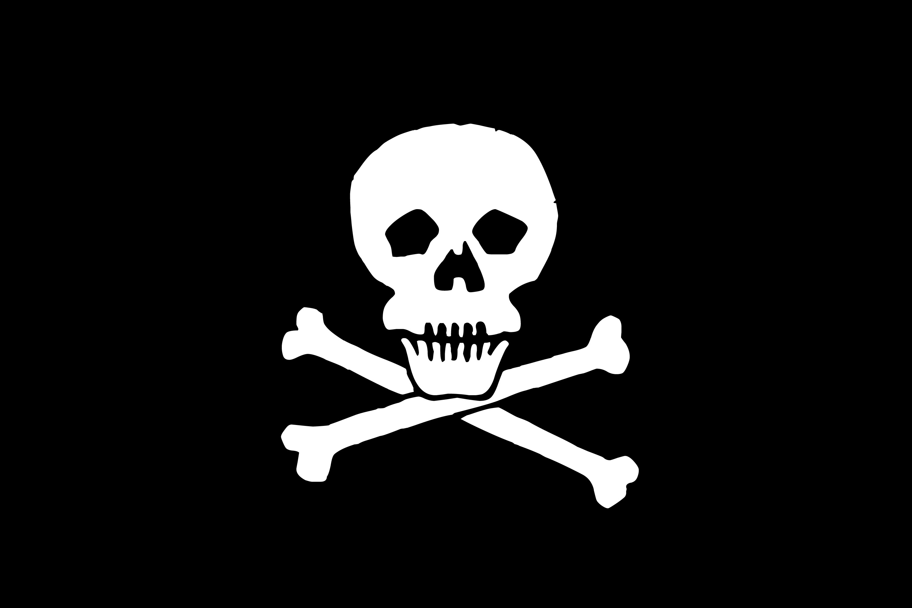 Free skull and crossbones with black background clipart. Clip art