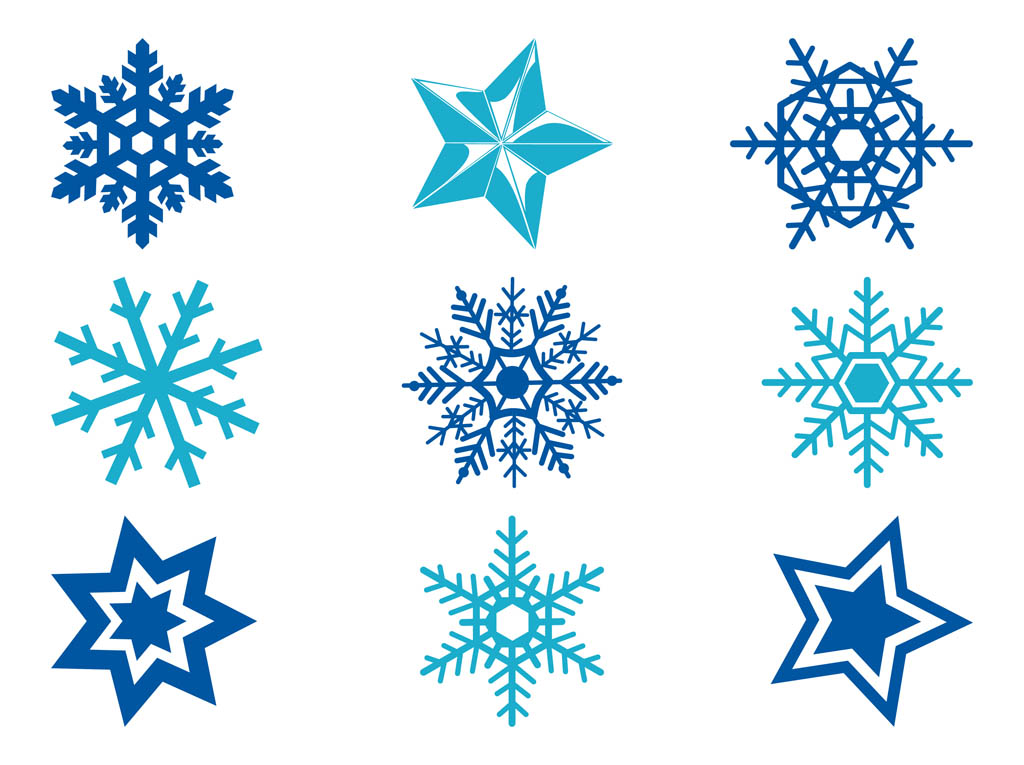 Stars and snowflakes art. Free snowflake vector clipart
