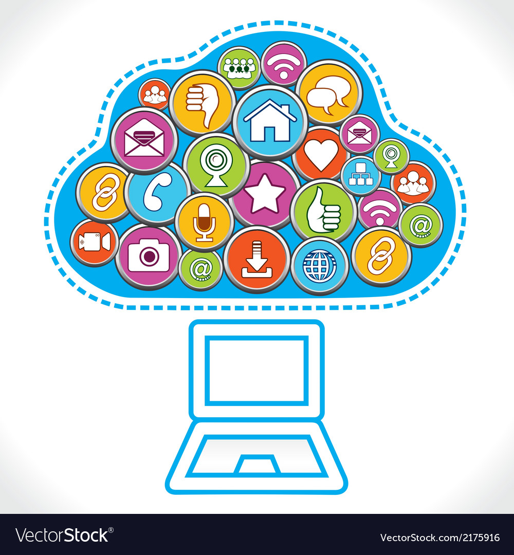 Free social media icons vector clipart. Different make cloud