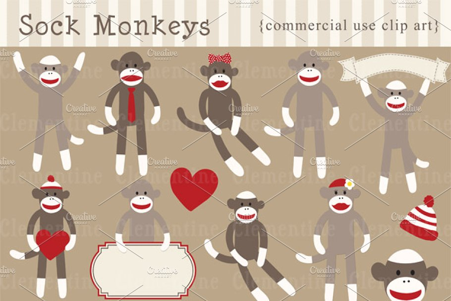 Free sock monkey clipart clip art free library Sock Monkey clip art and vectors clip art free library