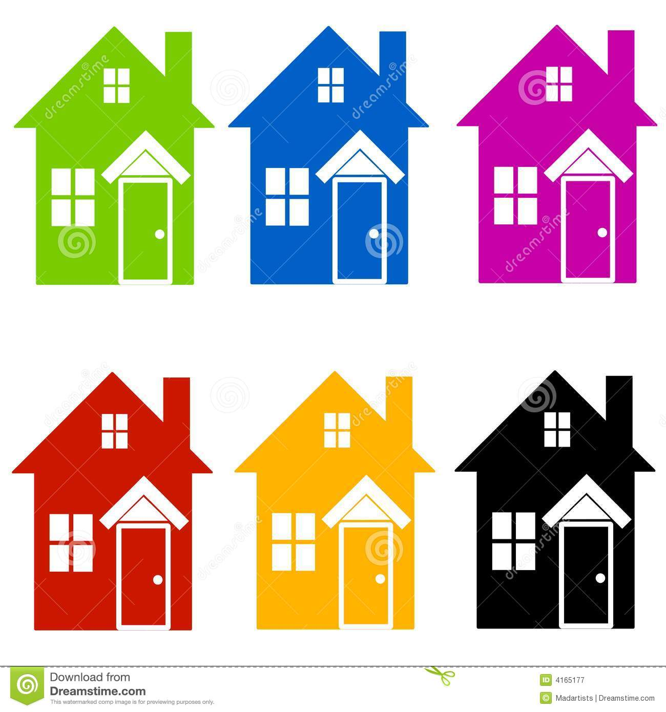 Free stock clipart clipart royalty free stock Colourful House Silhouettes Clip Art Royalty Free Stock ... clipart royalty free stock