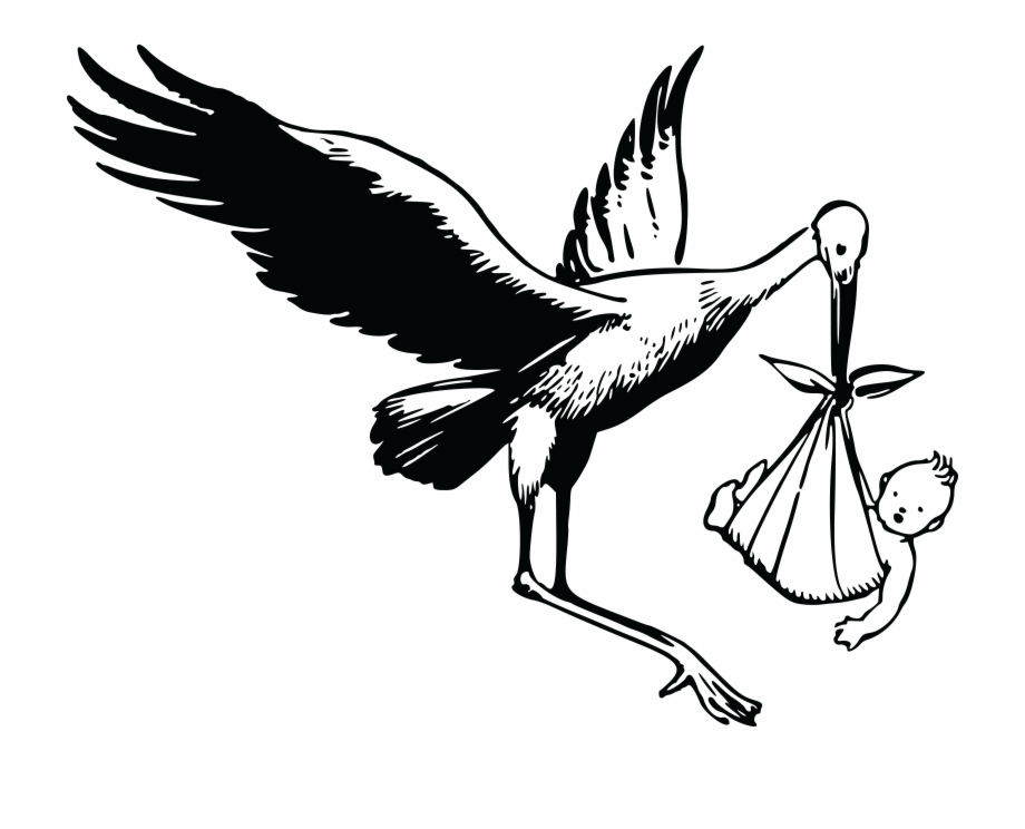 Free stork and baby clipart images to use png black and white Free Clipart Of A Stork And Baby - Stork Clipart Black And White ... png black and white