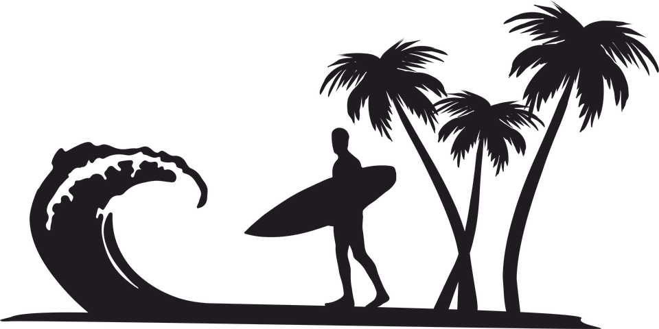 Free sun palm clipart clip black and white stock Palm Tree Clipart surfboard - Free Clipart on Dumielauxepices.net clip black and white stock