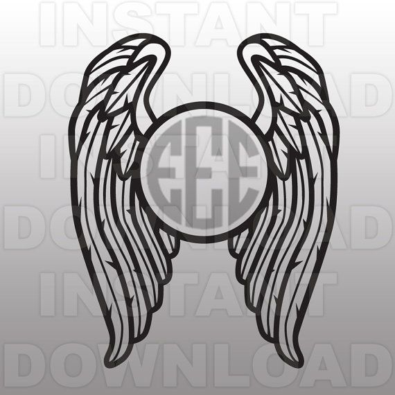 Free svg biker with angel wings clipart clipart freeuse download Wings SVG,Angel Wings SVG,Monogram SVG File,Cutting Template-Vector ... clipart freeuse download